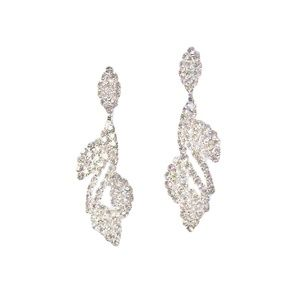 Tigerstars Silver Crystal Leaf Dangle Earrings